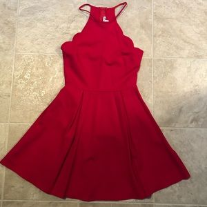Charlotte Russe Red Scalloped Dress